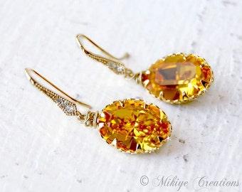Bridesmaid Earrings, Bridal Accessories, Yellow Earrings - Bridesmaids Earrings - Sunflower Swarovski Crystal Earrings