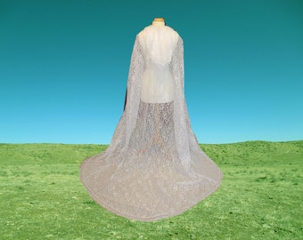 White Lace Cape - Cloak -  Hooded - Wedding - Gothic - Medieval - Costume - Renaissance Halloween