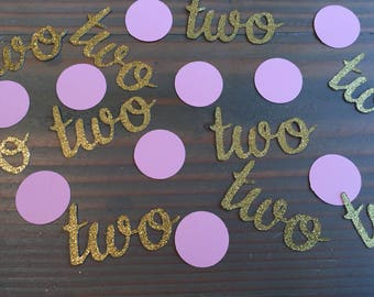 Baby's 2nd birthday confetti, gold glitter Two and pink circles, birthday party, table scatter, 100 pieces