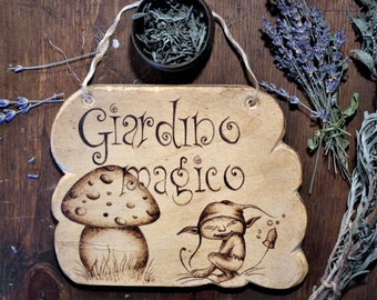 Magic Garden, wooden decoration with pyrography
