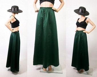 1990s Formal Prom Cocktail Evening Skirt 90s Soft Grunge Goth Evergreen Floor Length Party Skirt Maxi A-line Full Sweep Skirt Small Medium
