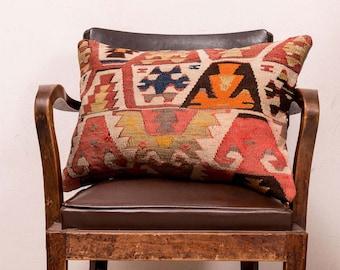 kilim pillow, handmade pillow, 16x24 inches (40x60 cm) Turkish kilim pillow, Decorative pillow, Boho pillow