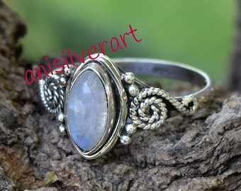 Moonstone 925 Silver Ring, Rainbow Moonstone Rings, Gemstone Ring, Good Friday Ring, Easter Sunday Ring