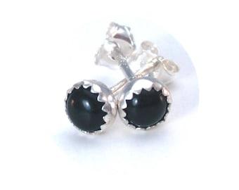 4mm Black Gemstone Studs Black Onyx Earrings for Him or Her