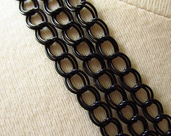 Black Plated Double Link Curb Chain 8mm by 6mm 5 Feet (152cm)