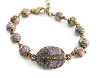 Trinity crucifix bracelet, Trinity cross bracelet, Catholic jewelry, Catholic gift, Catholic bracelet, Religious jewelry gift Cloisonne bead