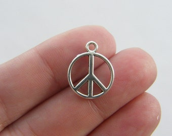 BULK 50 Peace sign charms antique silver tone P1