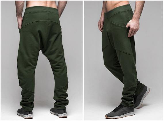 Black pants men, joggers trousers, loose cotton pants, drop crotch harem pants, steampunk men clothing, workout pants sweatpants men A0105