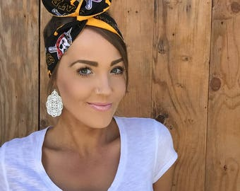 Pittsburgh Pirates Dolly Bow || Pinup Rockabilly Dolly Bow Tie Headband Yellow Black Red Baseball Headscarf Hair Band Head Wrap Accessories