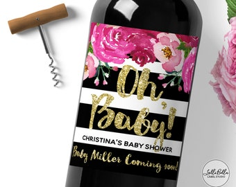 Baby Shower Wine Label, Black and White Stripes, Baby Announcements Oh Baby, It's a Girl, Baby Announcement, Custom Wine Label, Baby Gift