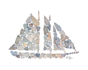 Schooner card, nautical stationary, coastal valentine, coastal card, nautical valentine, Maine card, Maine schooner