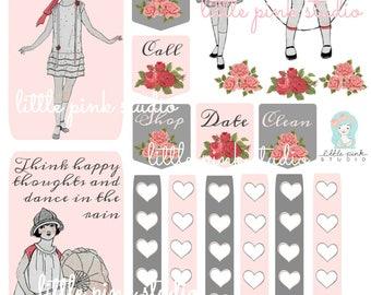 Planner Girls are the Happiest Girls,   printable planner sticker sheet, vintage style, vintage ephemera