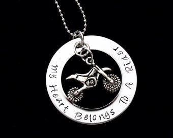 dirt bike  My heart belongs to a Rider - hand stamped pendant with necklace - ATV rider, Dirtbike rider