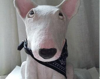 Ceramic Bull Terrier Sculpture