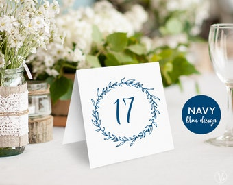 Navy Blue Wedding Table Numbers 1–40, Printable Tent Style Table Numbers, Wedding Table Numbers, INSTANT DOWNLOAD, Classic Wreath TN05, VW07