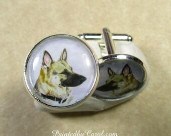 German Shepherd Cufflinks, K-9 Cufflinks, Police Dog Cufflinks, German Shepherd Mens Gifts, K-9 Mens Gifts, Police Dog Mens Jewelry