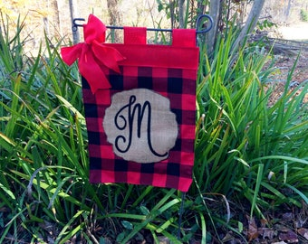 Buffalo Plaid Garden Flag, , Personalized Plaid Flag, Christmas Flag, Red Plaid Initial Monogram Flag,Gift For Her Under 30