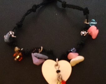 Mother of Pearl Heart & Chip Bead Bracelet with Button Fastener