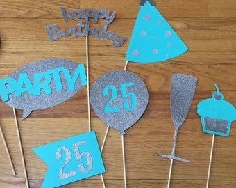 Photo Booth - Party Decorations - Photo Props - Birthday Party - 40th 18th 21st 25th 30th birthday - Bridal Shower - Silver - Set of 11