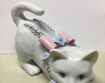 Mothers Day Gift, Vintage Cat White Porcelain / Ceramic Cat Kitten with Sculpted Ribbons Blue Roses, Playful Cat, White Ceramic Cats