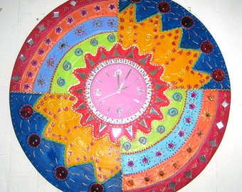 "Clock ""Madiba"" to hang painting and mosaic happy diameter 54cm"