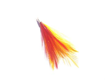 1 charm of Rooster feathers dyed multicolor 70 mm in height or fancy