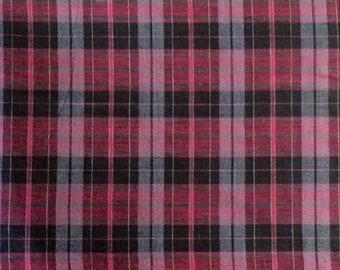 Cotton Fabric / Maroon and Black Plaid Cotton Fabric / Plaid Cotton Fabric / Plaid Himespun Fabric / Cotton Quilting Fabric / Maroon Plaid