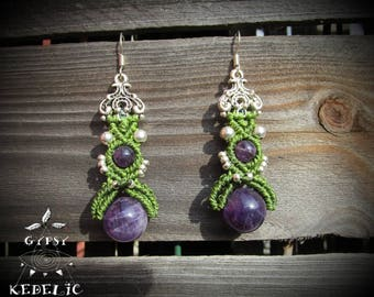 Macrame necklace with Amethyst beads dangling earrings and silver brass beads.