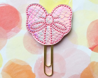 Planner Clip, Pink Faux Snakeskin Bow with Tails