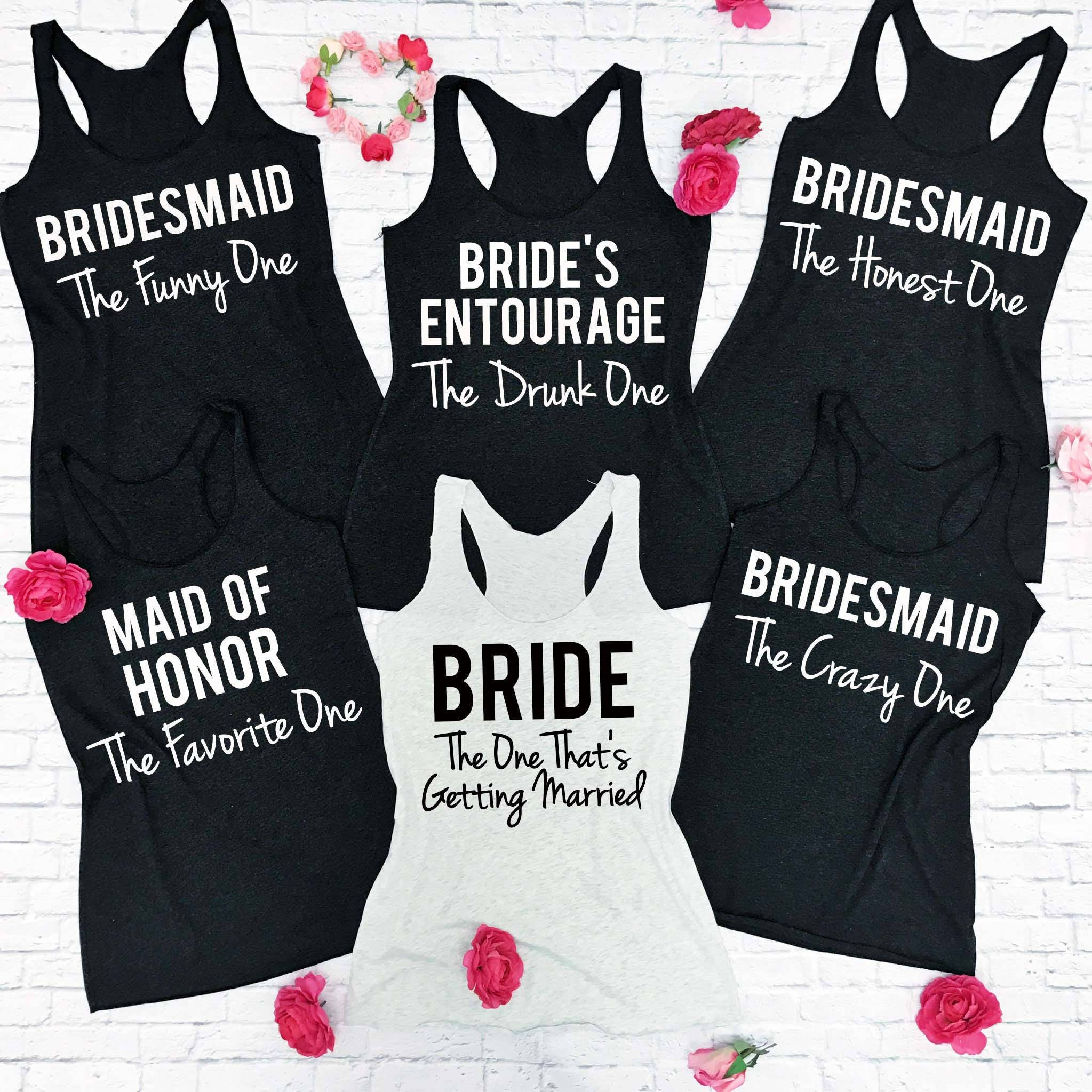 7 bridesmaid shirts 7 bachelorette party tank tops 7 wedding for Novelty bride wedding dress t shirt