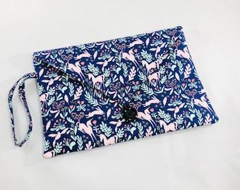 Envelope clutch iPad case - unicorn print