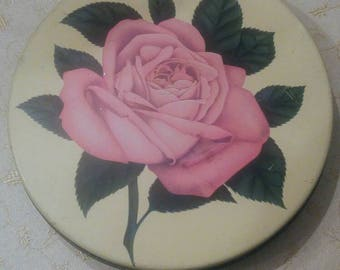 Vintage Mrs. Steven's Round Pink Rose Tin, Olive Can, Chicago