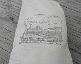 Set of 10  Hand stamped Train Kids Party Muslin Gift Party Favor Bags 100% organic made in america