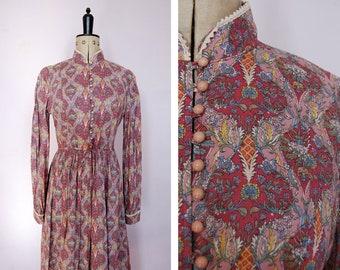 1970s Origin Liberty print dress - 70s Liberty dress - Paisley print dress - 70s bohohemian boho dress - 70s folk dress - 70s romantic dress