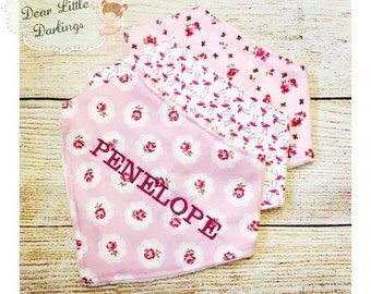 Personalised Baby Girls Bandana Bibs, Set Of 3 Bibs, New Baby Gift, Personalised Bibs, Personalised Gift