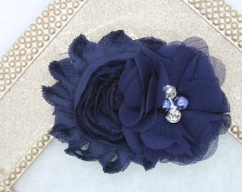 Navy blue flower girl hair clip, navy blue flower girl bow, navy blue wedding hair clip, toddler navy blue hair bow navy blue hair clip