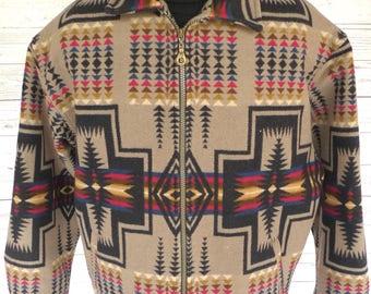 Xl PENDLETON High Grade Western Wear WOOL Blanket Jacket Coat NAVAJO Vintage
