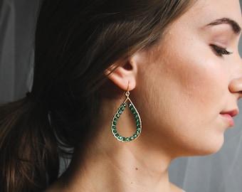 Emerald Green Glass Beaded Wire Wrapped Teardrop Earrings, Beaded Dangle Earrings, Special Occasion Earrings