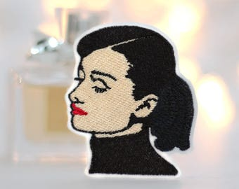 Audrey Hepburn Patch - Iron On - Embroidery Patch