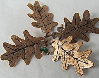 Copper Oak Leaf Brooch. Mothers Pin. Oak Leaf Pin. Leaf Brooch.