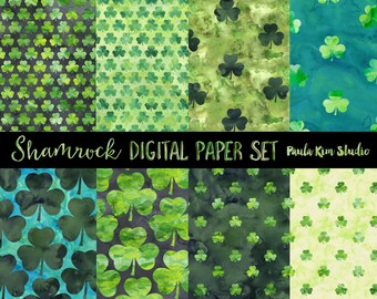 Watercolor Shamrock Digital Paper, Instant Download, Commercial Use, St. Patrick's Day Backgrounds