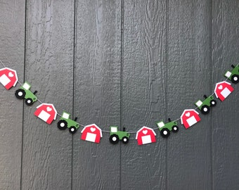 Tractor and barn garland, farm party, tractor party, barn, tractor birthday, farm birthday, barnyard birthday