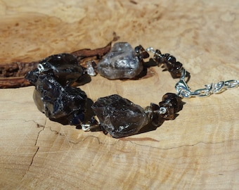 Raw Smoky Quartz Stone Bracelet ~ Statement Bracelet ~  Coffee Coloured Stones  ~ Healing Chakra ~ One of a Kind ~ OOAK