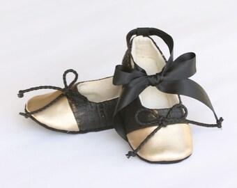 Baby Ballet Slipper, Black Snakeskin, Gold Shoes, Toddler Ballet Flat, Crib Shoe, Flower Girl, Wedding Shoe, Dance Shoes, Baby Souls Couture