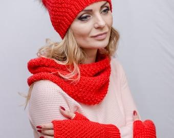 Clothing gift Christmas hat Santa Claus hat Pom pom hat Santa beanie hat Red hat Knit Santa hat Red and white hat Knitted christmas hat knit