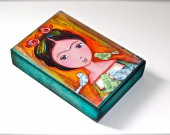 Frida avec oiseaux - Aceo Giclee print monté sur bois (2,5 x 3,5 pouces) Folk Art par FLOR LARIOS