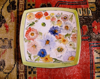Handpainted Plate, Asters Plate, Square Art Plate,  Flower Decor Plate,  Handmade Serving Plate,  Hang or Serve Plate, signed art plate