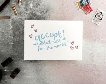 Accept RSVP Letterpress Wedding Card