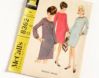 "Vintage 1960s Womens Size 14 Day Dress McCalls #8362 Sewing Pattern FACTORY Folds bust 34 waist 26"" French Darts, Gathered Neckline"