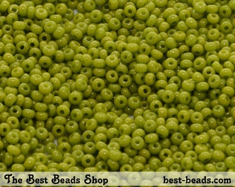 25g (1600pcs) Olive Green Rocaille 9/0 (2.6mm) Preciosa Czech Glass Seed Beads